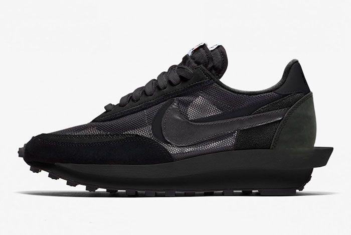 Sacai Nike Ldwaffle Triple Black Left