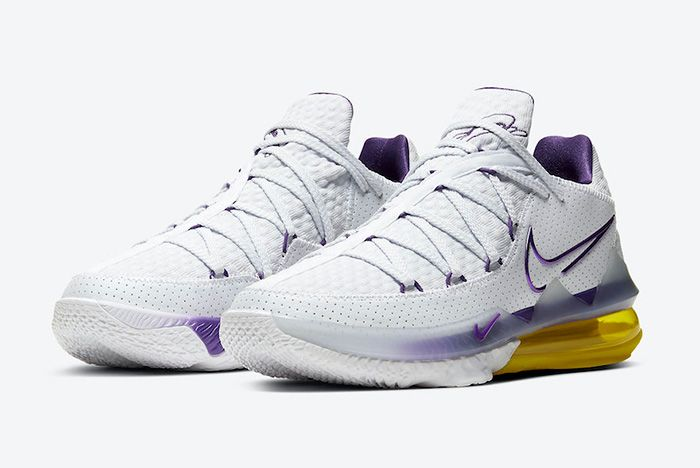 Nike Le Bron 17 Low Lakers Home Cd5007 102 Front Angle