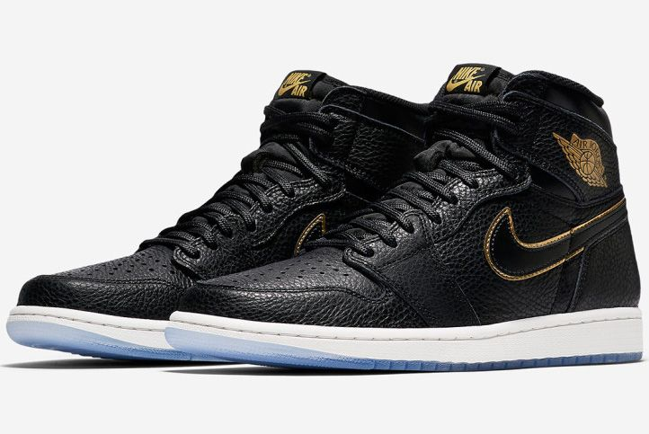 Air Jordan 1 Tumbled Leather Blackgold 1