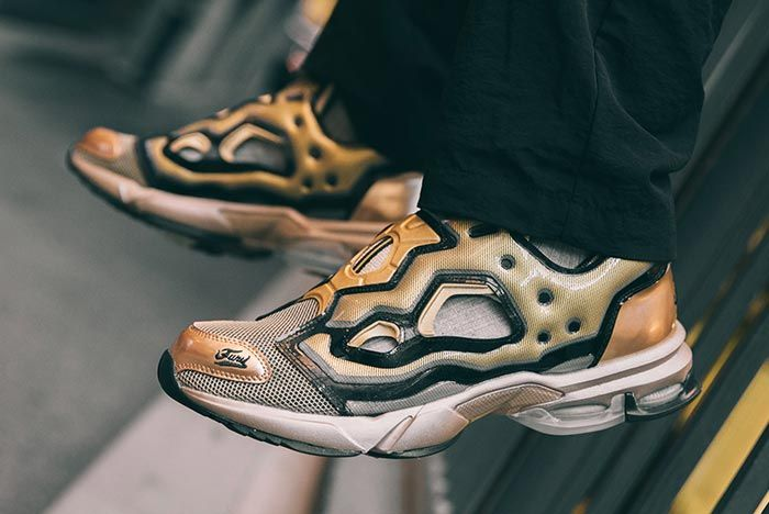 Reebok Dmx Pump Fur Millennium On Feet Left Side Hanging