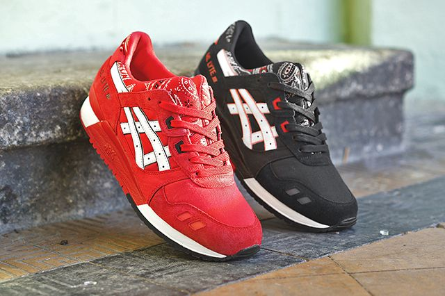 asics gel lyte 3 black/red quickstrike