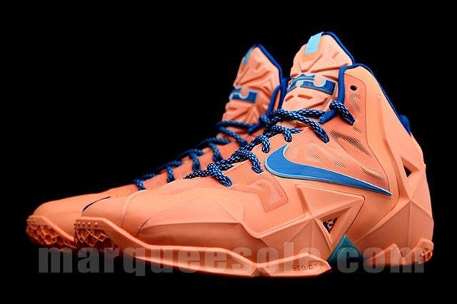 Nike Le Bron 11 Orange Navy Side 1