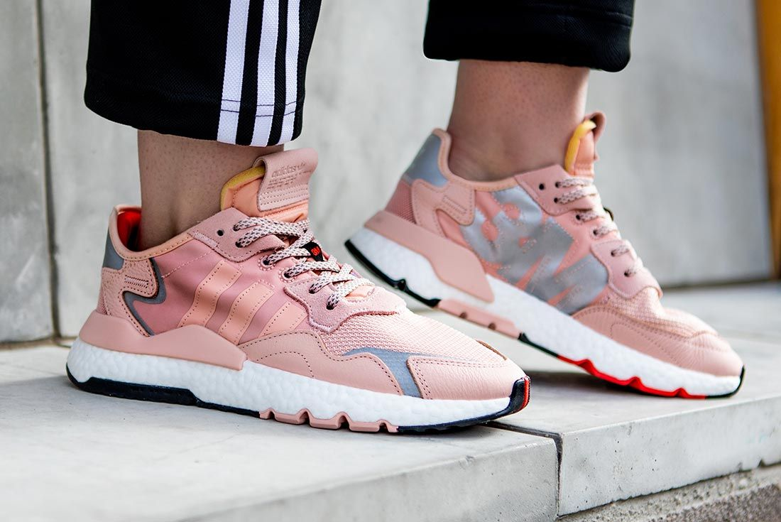 On Foot Adidas Nite Jogger Pink Lifted Heel