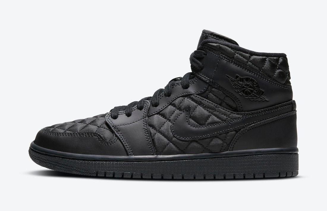 Air Jordan 1 Mid Black Quilted