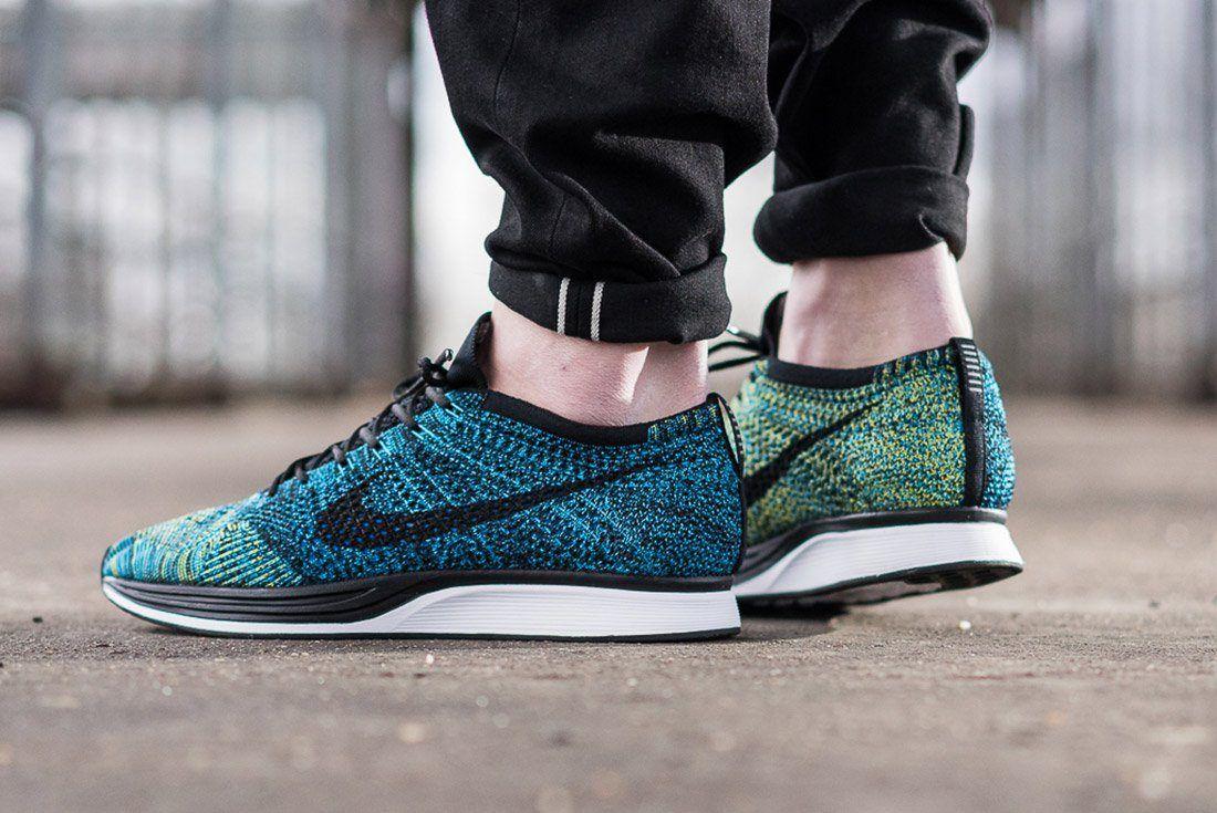 Nike Flyknit Racer Blue Glow On Feet 2