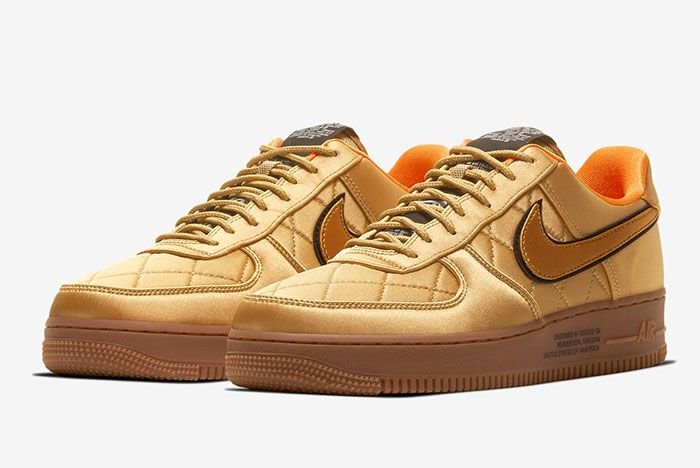 Nike Air Force 1 Low Cu6724 777 Gold Front Angle