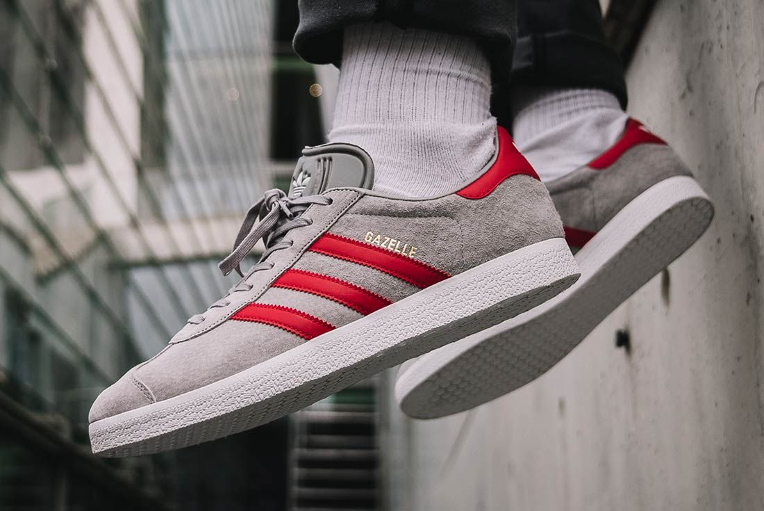 Adidas Gazelle Medium Greyscarlet 2