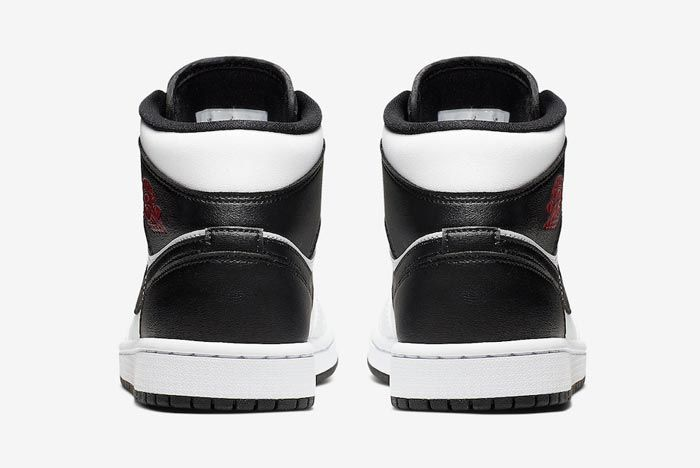 Air Jordan 1 Mid White Black Red Heels