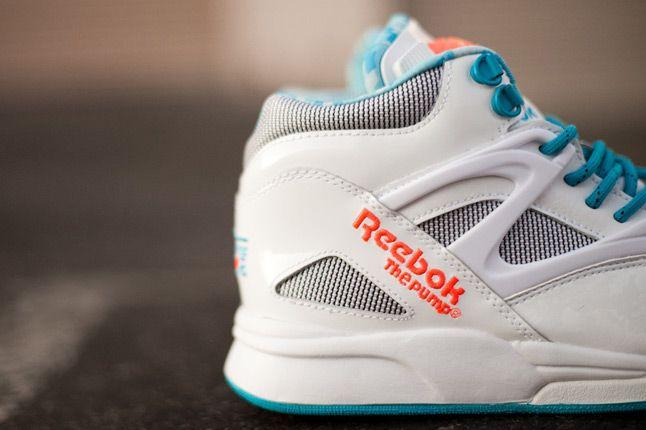 Reebok Omni Lite Pump White Teal Orange Heel 1