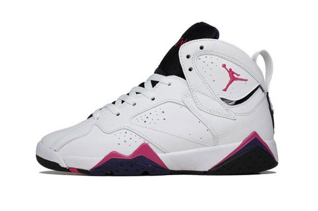 Air Jordan 7 Gs White Fireberry Black Night Blue Side 1