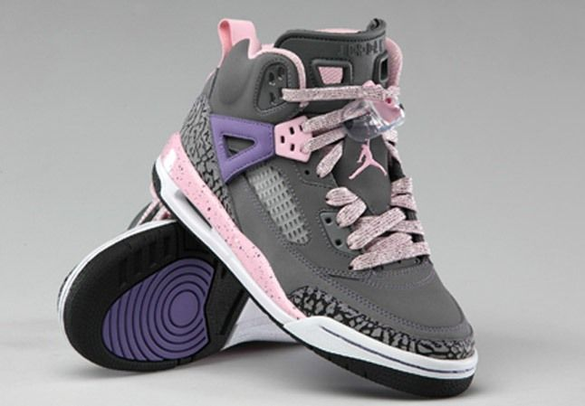 Jordan Spizike Grey Pink Purple Gs 1