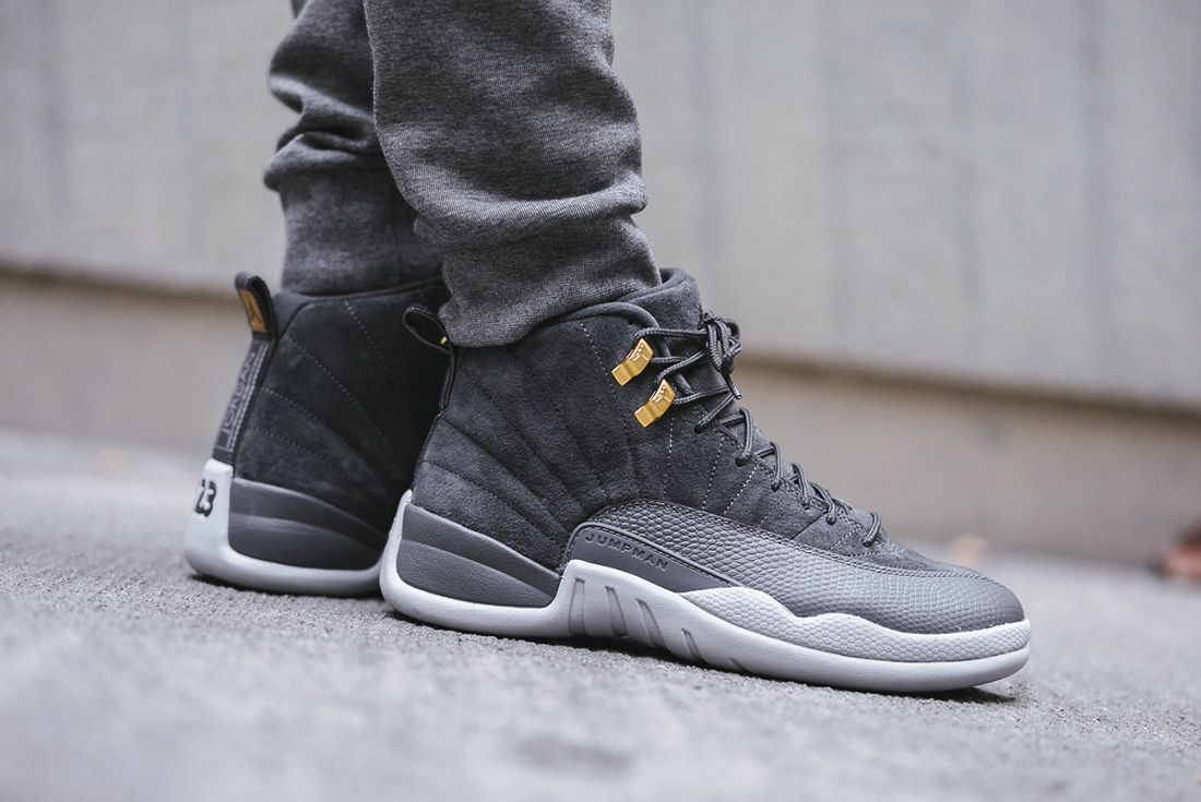 On Foot Air Jordan 12 Dark Grey6
