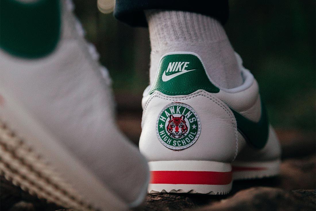 Nike Stranger Things Cortez Hawkins High School On Foot Heel Shot