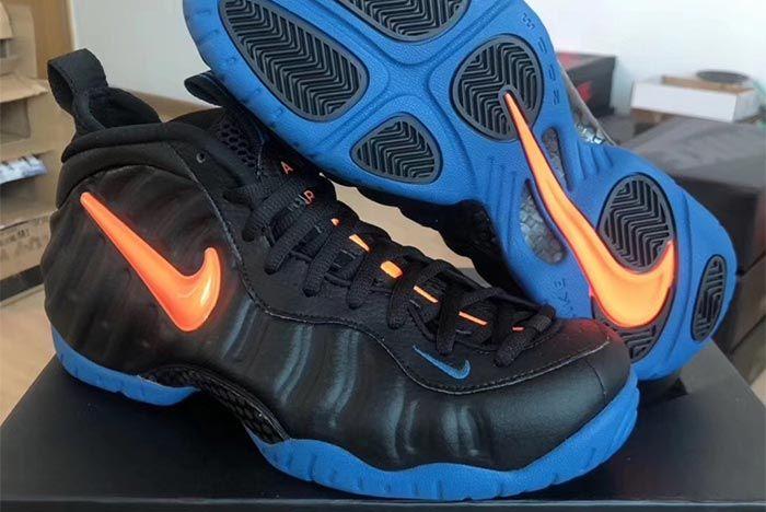 Nike Air Foamposite Pro Knicks Black Battle Blue Total Orange 624041 010 Three Quarter Angle Shot