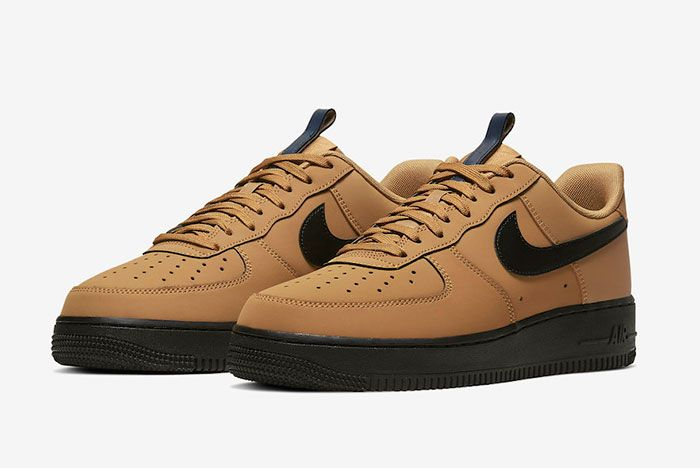 Nike Air Force 1 Low Wheat Black Bq4326 700 Front Angle