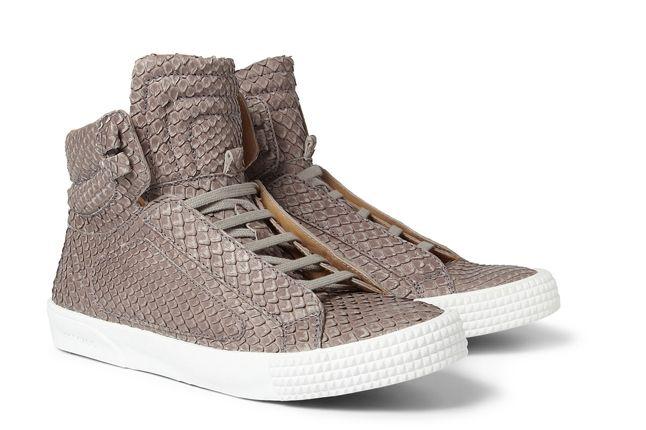 Jimmy Choo Snakeskin Leather High Top Sneaker Angle 1