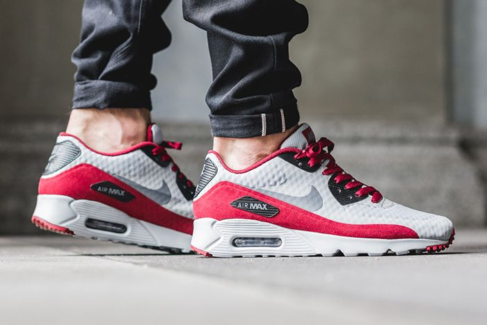 Nike Air Max 90 Ultra Essential (Wolf Grey/Red) - Sneaker Freaker