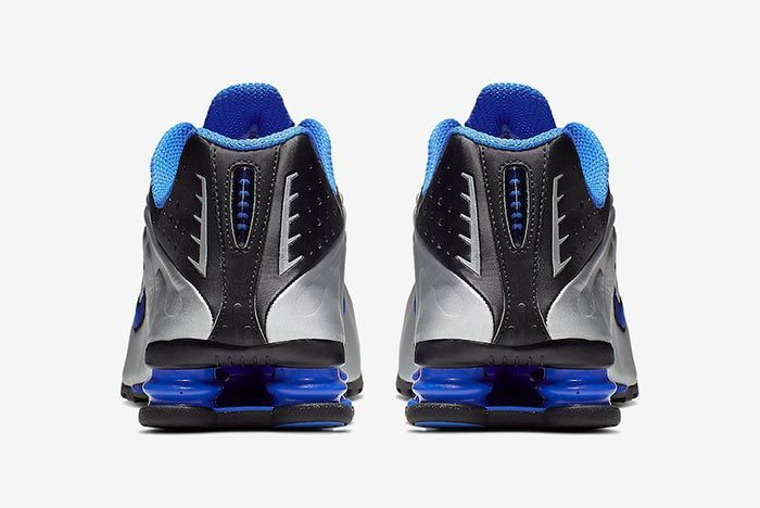 Nike Shox R4 Racer Blue Metallic Silver 104265 047 Heel Shot