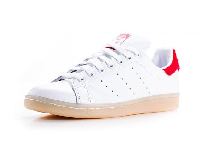 Adidas Stan Smith Fuzzy Heel White Red Womens 2