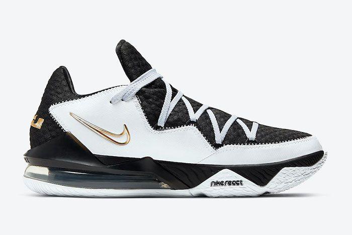 Nike Le Bron 17 Low White Black Metallic Gold Cd5007 101 Medial