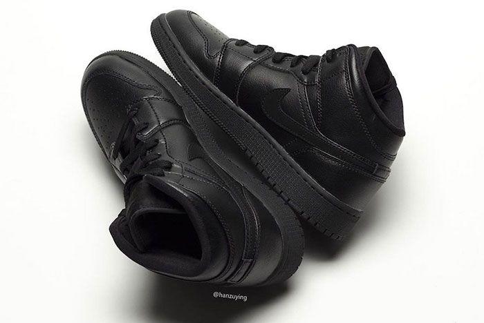 Air Jordan 1 Mid Deep Black Heel 2