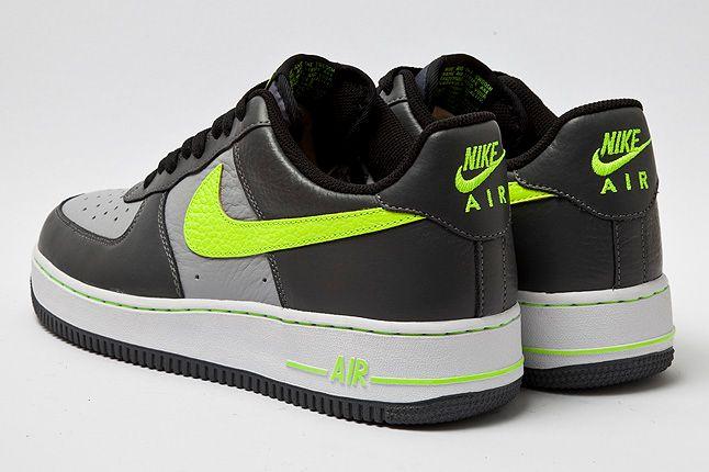 Nike Air Force 1 Grey Volt Heel Back 1