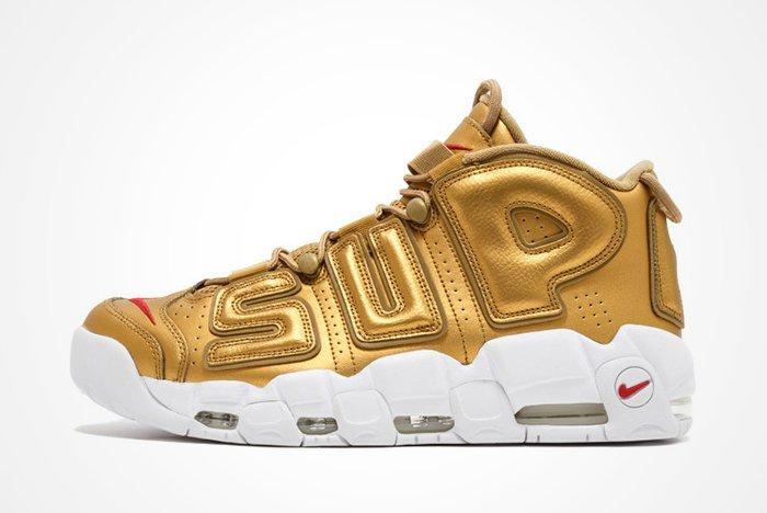Supreme X Nike Air More Uptempo Metallic Goldfeature