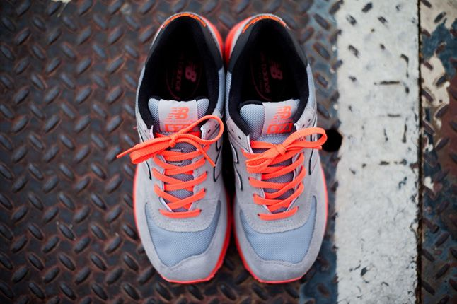 New Balance 574 Infrared Grey Mesh Top Pair 1