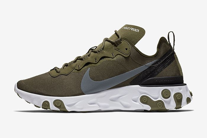 Nike React Element 55 Olive Green White 2