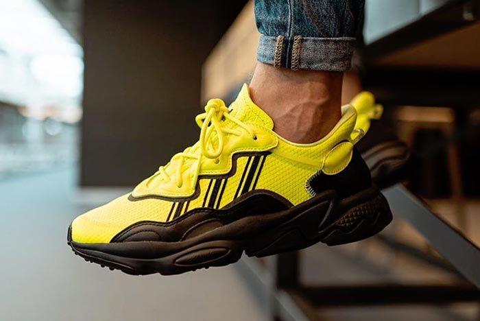 Adidas Ozweego Solar Yellow Eg7449 On Foot Dangling