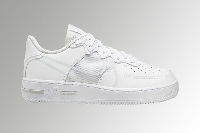 Nike Air Force 1 React White Pure Platinum Ct1020 101 Lateral