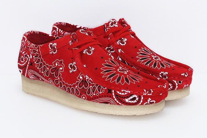Supreme Clarks Originals Summer Wallabee Red Three Quarter Angle Shot