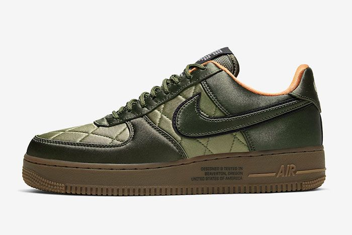 Nike Air Force 1 Low Quilted Olive Flight Jacket Cu6724 333 Lateral