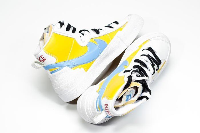 Sacai Nike Blazer Whitebaby Blueyellow Heel Shot 7