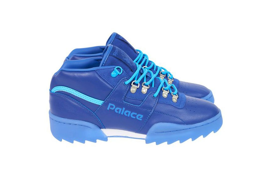 Palace Reebok Classic Workout Mid Ripple Sole Blue Lateral Side Shot