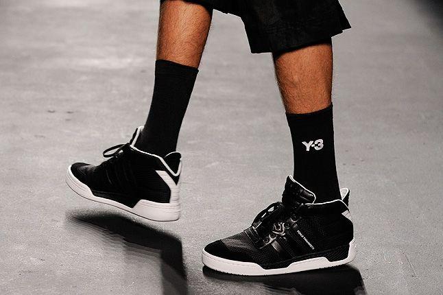 Black Y3 High Top Sneakers Black Socks 1