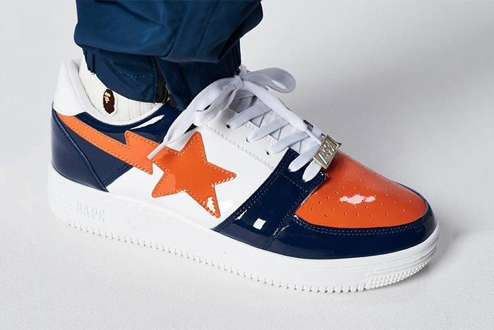 Bathing Ape Bapesta Orange Navy White On Foot Shot 1