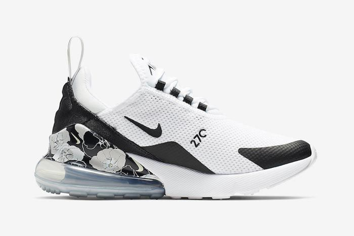 Nike Air Max 270 Black White Floral Medial