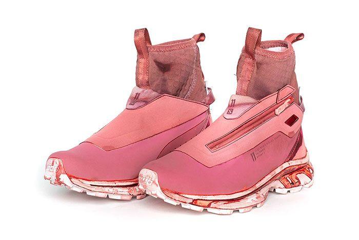 11 By Boris Bidjan Saberi X Salomon Spring Summer 2020 Footwear All Red High Thre Quarter Lateral Side Shot
