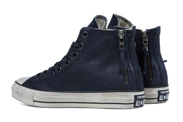 John Varvatos X Converse Leather Double Zip High Navy7