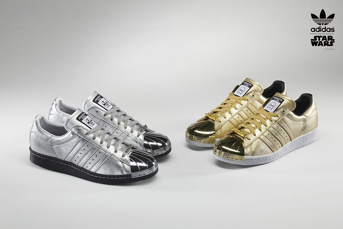 Adidas Shell Superstar 80S Gold Silver C3P0 R2D2 2015
