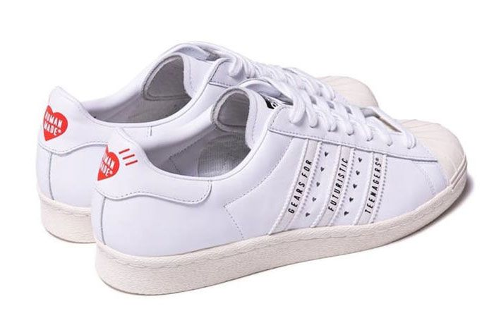 Human Made Adidas Superstar White Rear Angle