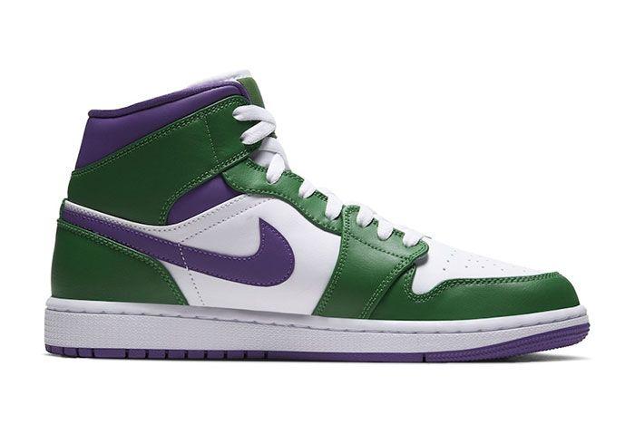 Air Jordan 1 Mid Hulk Green Purple Medial Side Shot