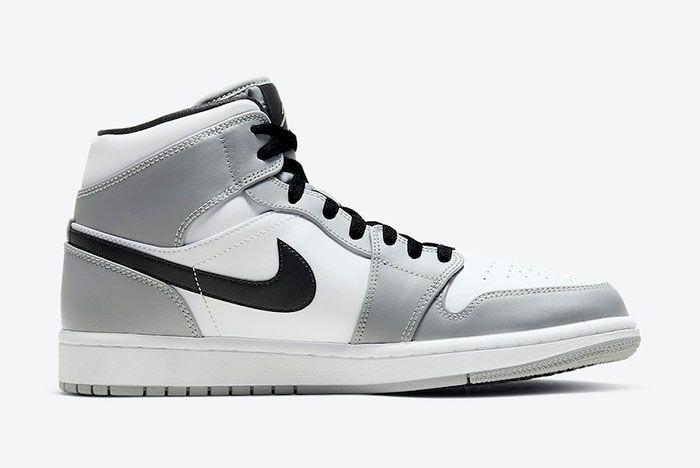 Air Jordan 1 Mid Light Smoke Grey 554724 092 Medial White