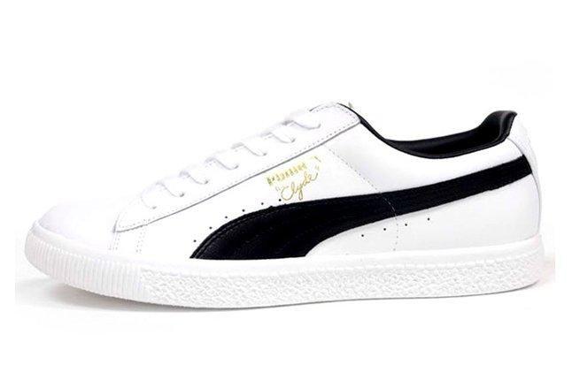 Puma Clyde Leather White Black Profile 1