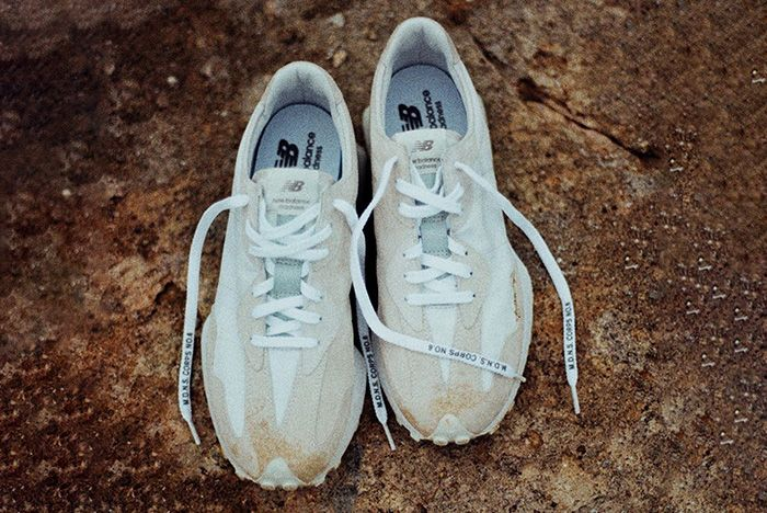 Madness New Balance 327 White Off Foot