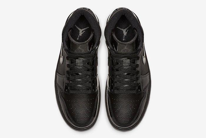 Air Jordan 1 Mid Triple Black Patent Bq6472 003 Top