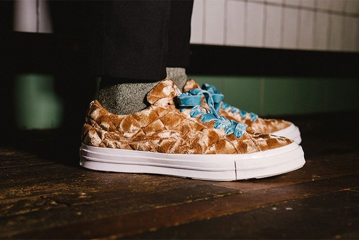 Golf Le Fleur Converse All Star Quilted Brown On Feet Standing Right Side View