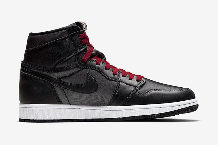 Air Jordan 1 Black Satin Gym Red 555088 060 Medial