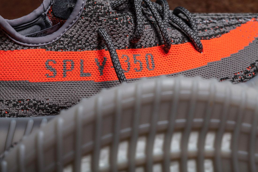Adidas Yeezy 350 V2 Beluga Grey Orange Close Up 9